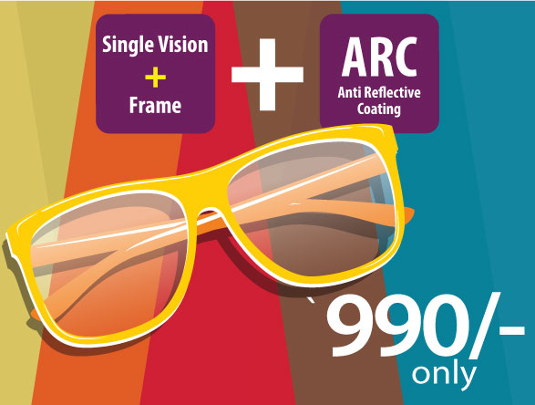 Single Vision ARC Lens + Frame at Rs.990 only