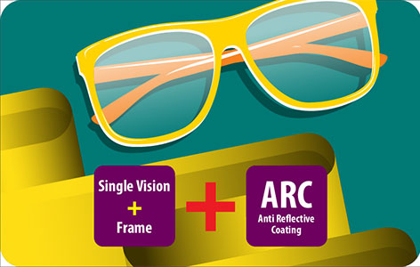 Single Vision Eyeglasses with ARC lens at Rs.990 only