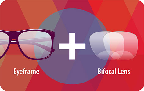 Eyeglasses with bi-focal lens at Rs.1290 only